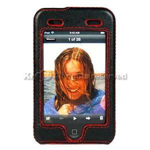 Black with Red Leather Shell Case Cover For Brand Apple