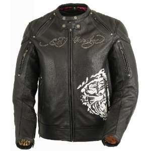 Ed Hardy Mens Love Kills Slowly / Born Free Leather Jacket With