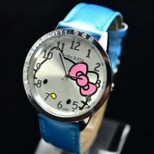 Kitty Classic Blue Wrist Watch + Free Heart Necklace