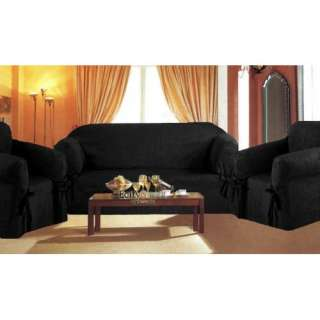 Pieces Solid Black Suede Corduroy Couch/sofa Cover+loveseat+chair