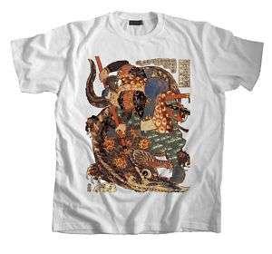 Samurai Tattoo T Shirt Musashi killing a Giant Nue