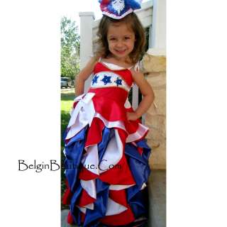 PAGEANT Glitz RWB Patriotic National evening wear custom 12m 2T 3T 4 5