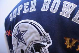 NFL Dallas Cowboys Super bowl versity jacket coat dark blue with white