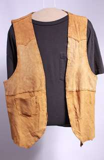 MENS VTG CAMEL SOFT LEATHER HANDMADE WESTERN VEST sz M