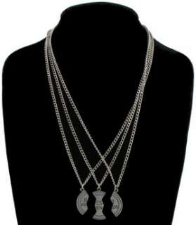 Pendant Bff Necklace Set 3 Part Best Friends Silver Tone