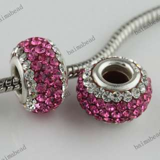Colorful Area Swarovski Crystal 925 Silver Charm Spacer Loose Bead as