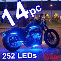 12pc BLUE LED NEON FLEXIBLE MOTORCYCLE LIGHTING KIT