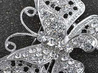 Silver Tone Filigree Vintage Clear Crystal Rhinestone Layer Butterfly