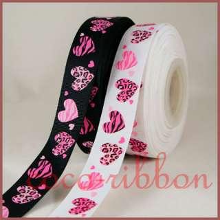 10YD 7/8 Valentine Leopard Zebra Love Heart Grosgrain Ribbon White
