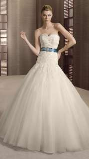 2012 New Design Bule Belt Removeable Beads Wedding Dress Bridal