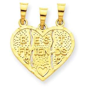 14k Gold 3 piece Break apart Best Friends Charm Jewelry