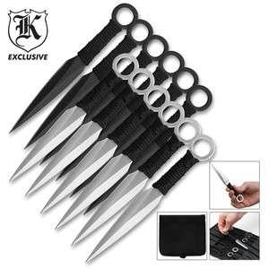 Throwing Knives 12 Piece Black & Silver Ninja Kunai Throwing Knife Set