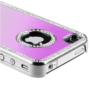 Purple Luxury Bling Diamond Aluminium Hard Case+PRIVACY Filter for
