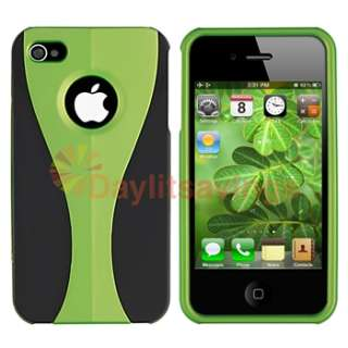 Green/Black 3 Piece Rubber Hard Case+Privacy LCD Film for Sprint ATT