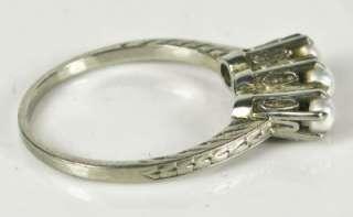 1399 Art Deco 18k White Gold Diamond Cut Filigree Seed Pearl Ring 2