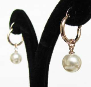 pearl 18k rose gold GP swarovski earrings dangle