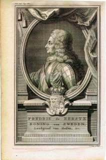 ANTIQUE PRINTS, KINGS, SWEDEN,DENMARK,NORWAY, 1734