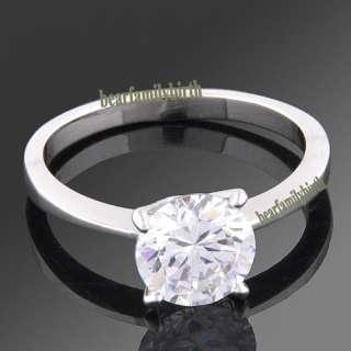 18K white GOLD GP Swarovski crystal wedding ring 1763
