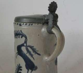 Antique Early German Westerwald Stoneware Beer Stein c.1790s