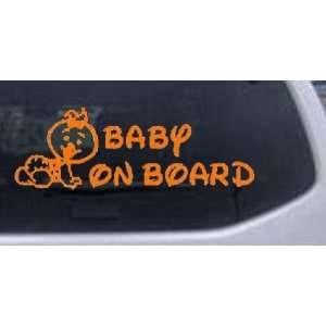 8.5in X 3in Orange    Baby On Board (Girl) Car Window Wall