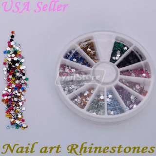 1800 Pcs 2.0mm Flower Shape Nail Art Rhinestones Glitters Wheel