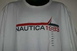 Mens Nautica 1983 Red Blue Logo Graphic Crew Neck Cotton T Shirt