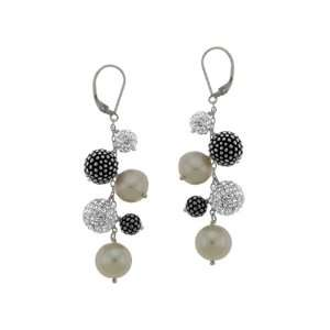 Aya Azrielant Pearl Earrings with White and Black Spheres in Sterling