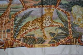Safari Jungle Africa Animals Pattern Silk Leopard Elephant