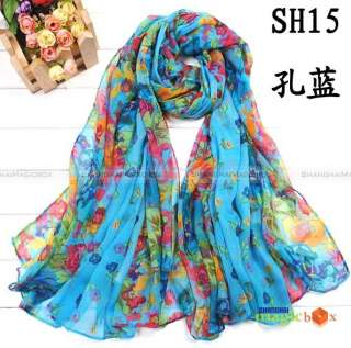 Women Fashion Sweet Cute Flower Pashmina Shawl Scarf Warp Cappa New