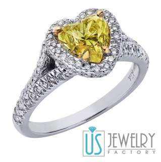 15ct Light Yellow Brilliant Heart Cut Diamond Engagement Ring 18k