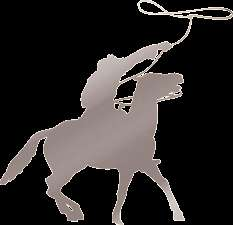 Horse & Cowboy with Lasso Outback Wild West Buffalo Bill Metallic