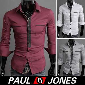 Handsome, Mens Casual Button Shirts Formal Shirt/Casual Patched Dress
