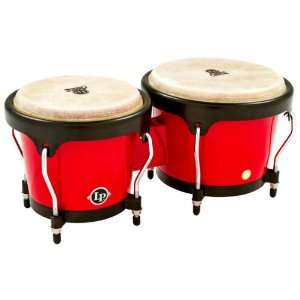 LP Aspire LPA601 RW Wood Bongos (Red/Black): Musical