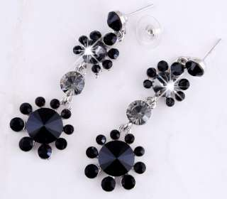 23954 Black Flowers Rhinestone Crystal Bridal Drop Necklace Dangle
