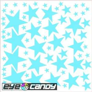 34 Light Blue Stars Wall Stickers Decals Mural Words