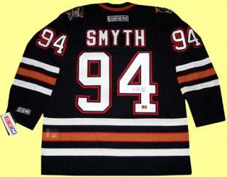 Edmonton Oilers jersey autographed by Ryan Smyth. The jersey is semi