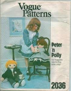 & Polly Rag Doll & Clothes Stuffed Toy Sewing Pattern 2036 U