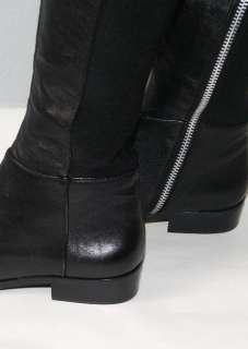 MICHAEL KORS LONG BLACK LEATHER BOOTS SZ 5 1/2M NEW 5.5