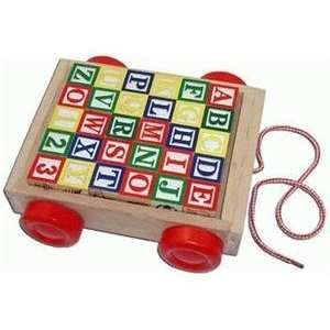 Classic Wood Cart with ABC Blocks Toys & Games