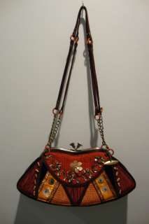 MARY FRANCES Red Orange Multi Color Beaded Knit Velvet Small Purse