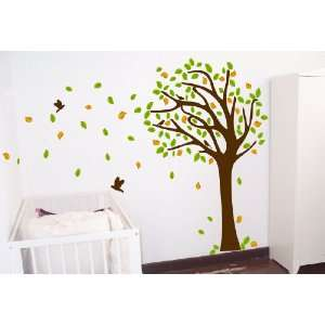 7ft Tree Decal   Wind Blowing 7ft Tree Wall Decal w/ Birds Art Sticker