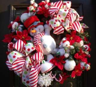Wreath Snowman Peppermint Dots Door Decoration Cute Luxe Wreaths