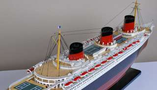 Normandie cruise ship wood model French ocean liner wooden boat
