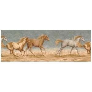 Wallpaper Border Running Wild Horses Blue