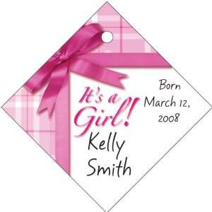 Wedding Favors Its a Girl Gift Wrap Design Diamond Shaped