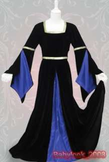 Renaissance Wedding Gown Black Velvet Dress Costume Sca