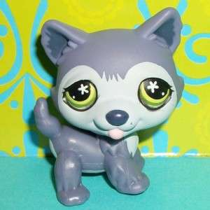 Littlest Pet Shop~#487 PURPLE HUSKY POLAR PUPPY DOG Green Eyes~F111