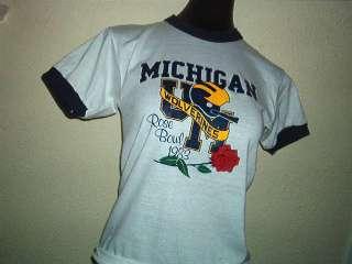 MICHIGAN WOLVERINE 1983 ROSE BOWL SHIRT ringer 80s XS