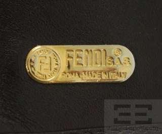 Fendi Vintage Black Striped Coated Canvas & Leather Trim Coin Purse
