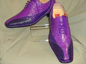 Medium to Dark PurpleTrio Croco Embossed Dress Shoes Expressions 5754